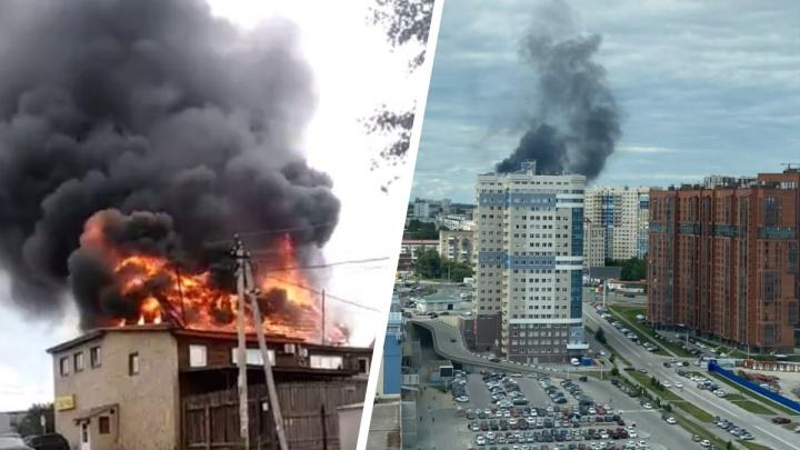 Крыша банного комплекса рухнула во время пожара на Кавалерийской