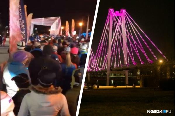 Красноярцы с фонариками пробежали по Вантовому мосту