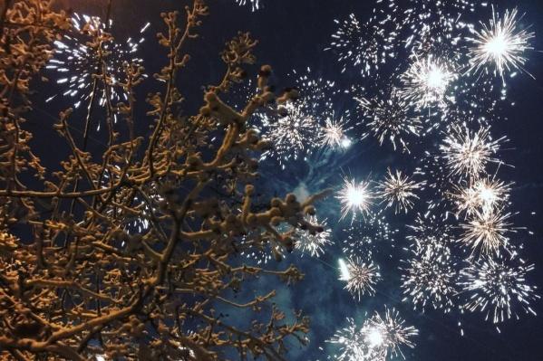 Красноярка Мария сняла красивое фото озаренного фейерверками неба