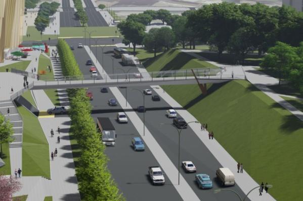 Надземный пешеходный переход через улицу Попова будет похож на мост