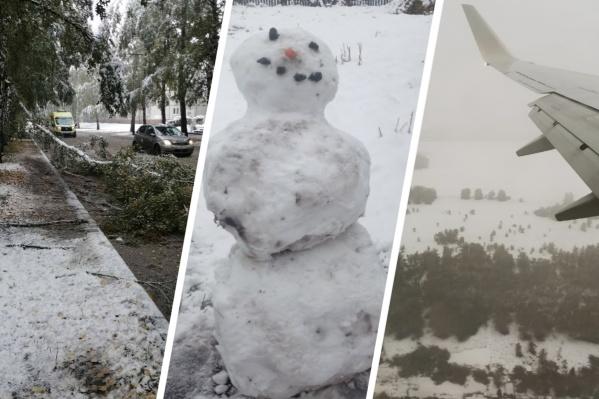 По словам кемеровчан, такого снегопада в сентябре они не могут припомнить
