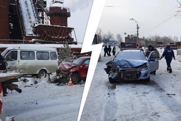 «Газель» протаранилаLada Kalina и Mazda CX 5