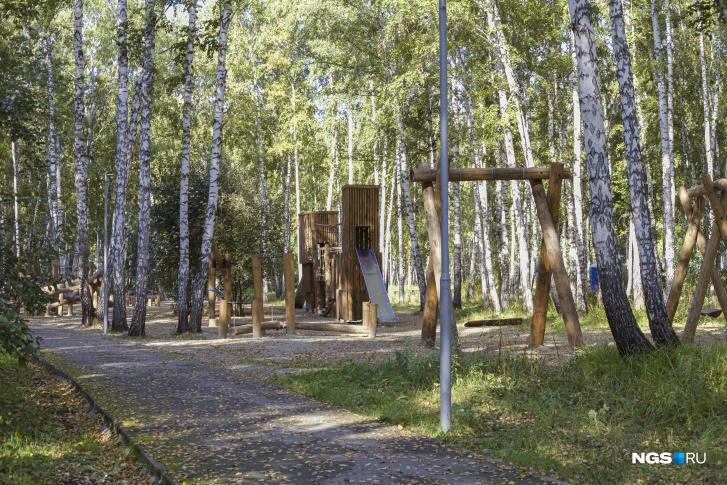 Юрий не стал делать закрытый забор между своим участком и поселковым парком, поэтому его собственный лес плавно перетекает в общий, где есть спортивные и детские площадки