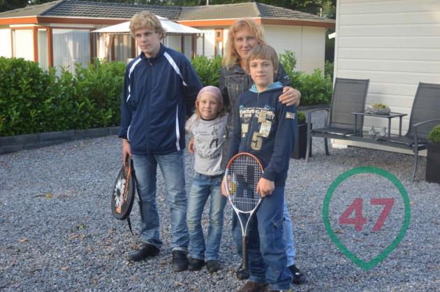 Юдина с детьми в Германии