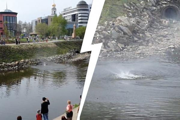 Вихрь образовался из-за того, что в Екатеринбурге жарко, а вода еще не прогрелась