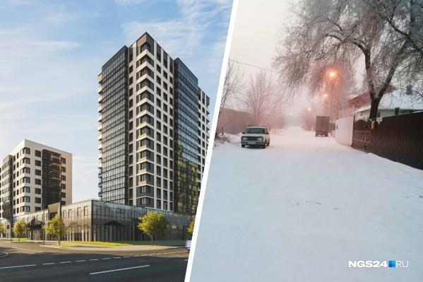 Слева — эскиз будущего жилого комплекса «Пушкин», справа — улица Ленина, которая проходит вдоль частных домов в Николаевке