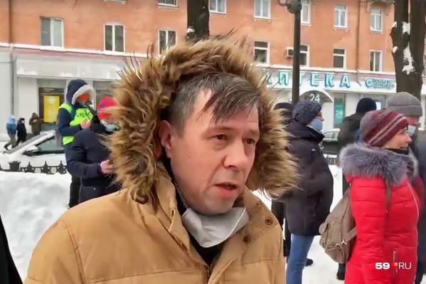Юрист штаба Навального Артём Файзулин на январском шествии