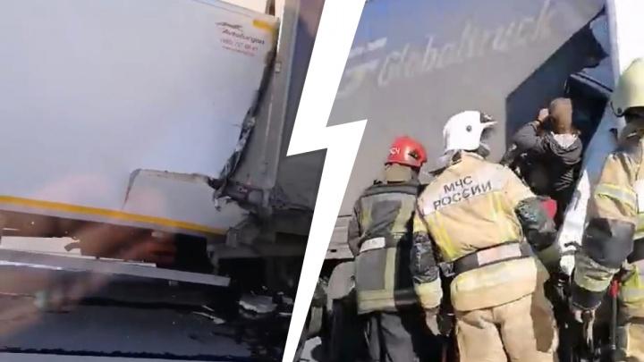 «В рубашке родился»: водитель, врезавшийся утром в фуру, выжил — из кабины его вытаскивали впятером
