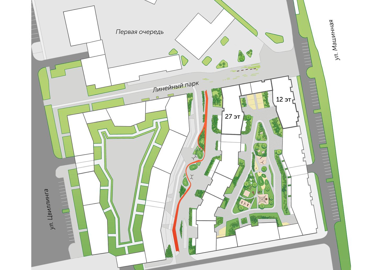 План застройки продолжения «Паркового квартала»