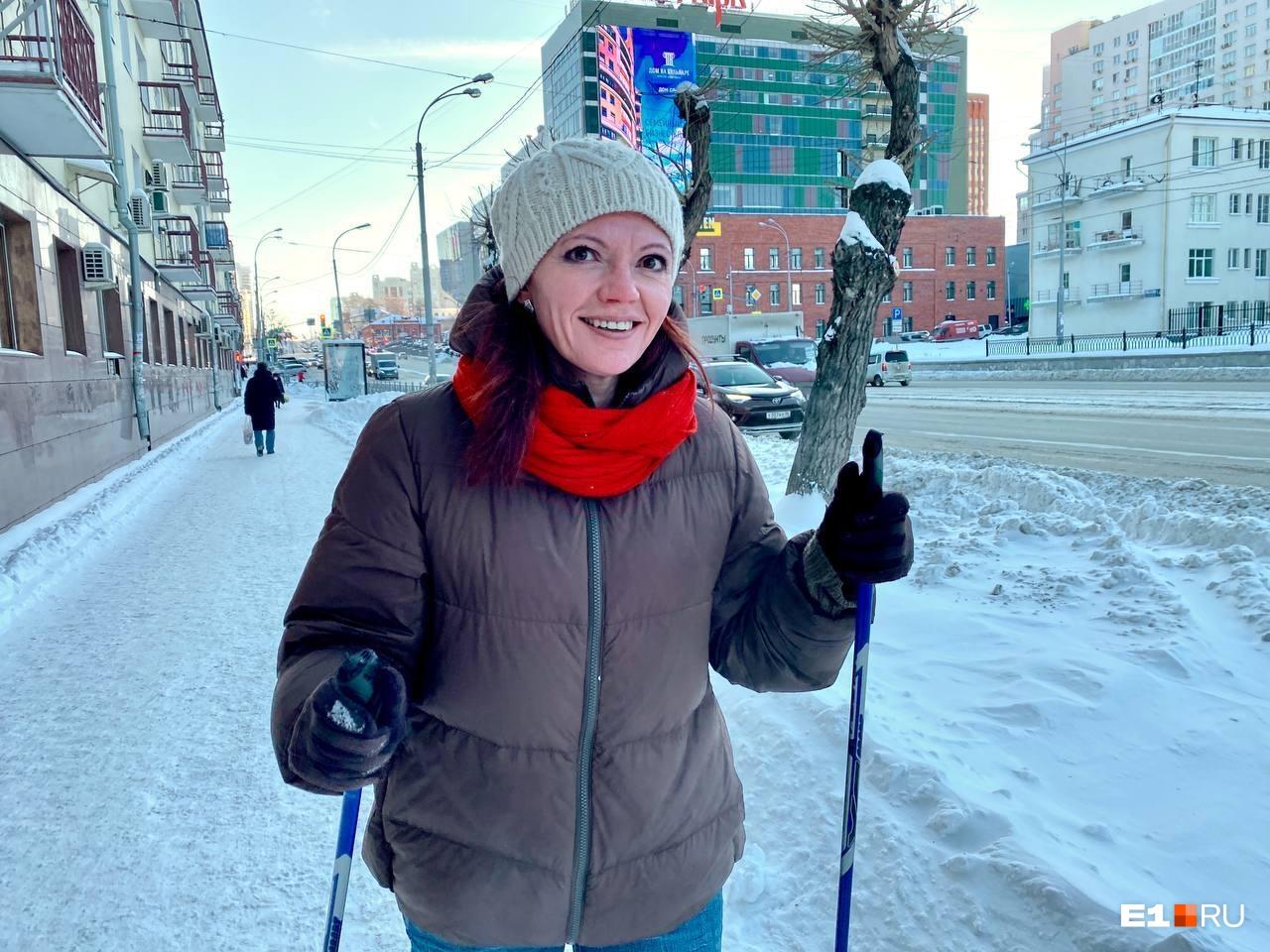 По Московской лыжи отлично скользят, особенно под горку, но досаждает сильный ветер