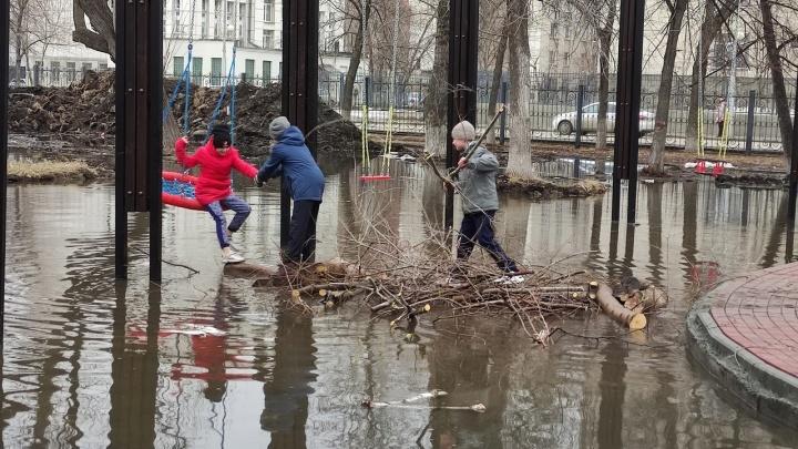 В Кургане дети построили плотину из веток, чтобы покачаться на затопленных качелях в горсаду