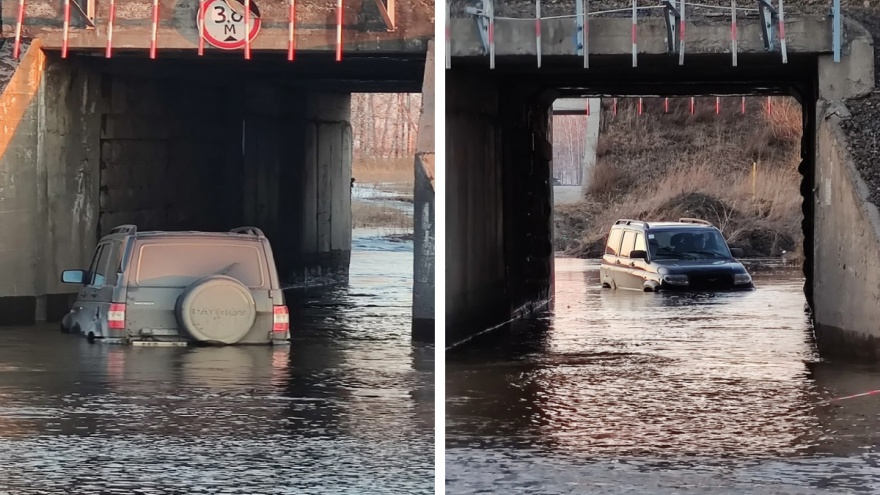 Под Новосибирском талые воды отрезали целый поселок — единственный въезд затопило