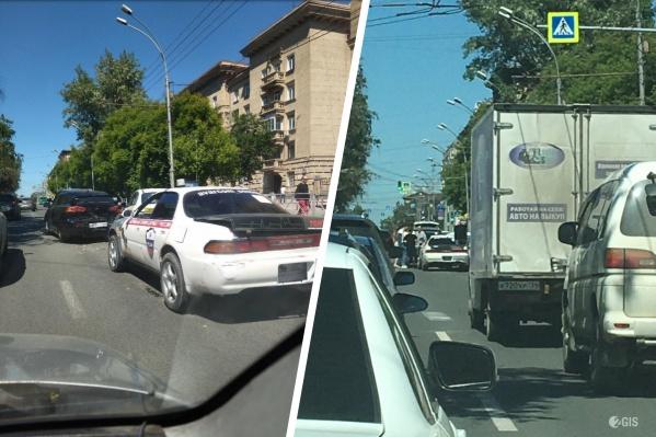 Авария создала пробку на Красном проспекте от площади Ленина до пересечения с улицей Державина