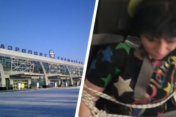 В аэропорту самолет с неспокойной пассажиркой уже ждали полицейские