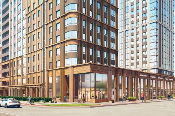Жилой комплекс переменной этажности включает в себя 331 квартиру и 29 коммерческих помещений