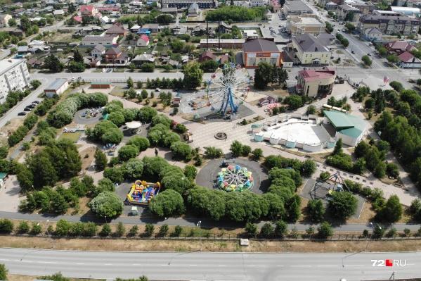 Вид на городской сад Ялуторовска с высоты птичьего полета
