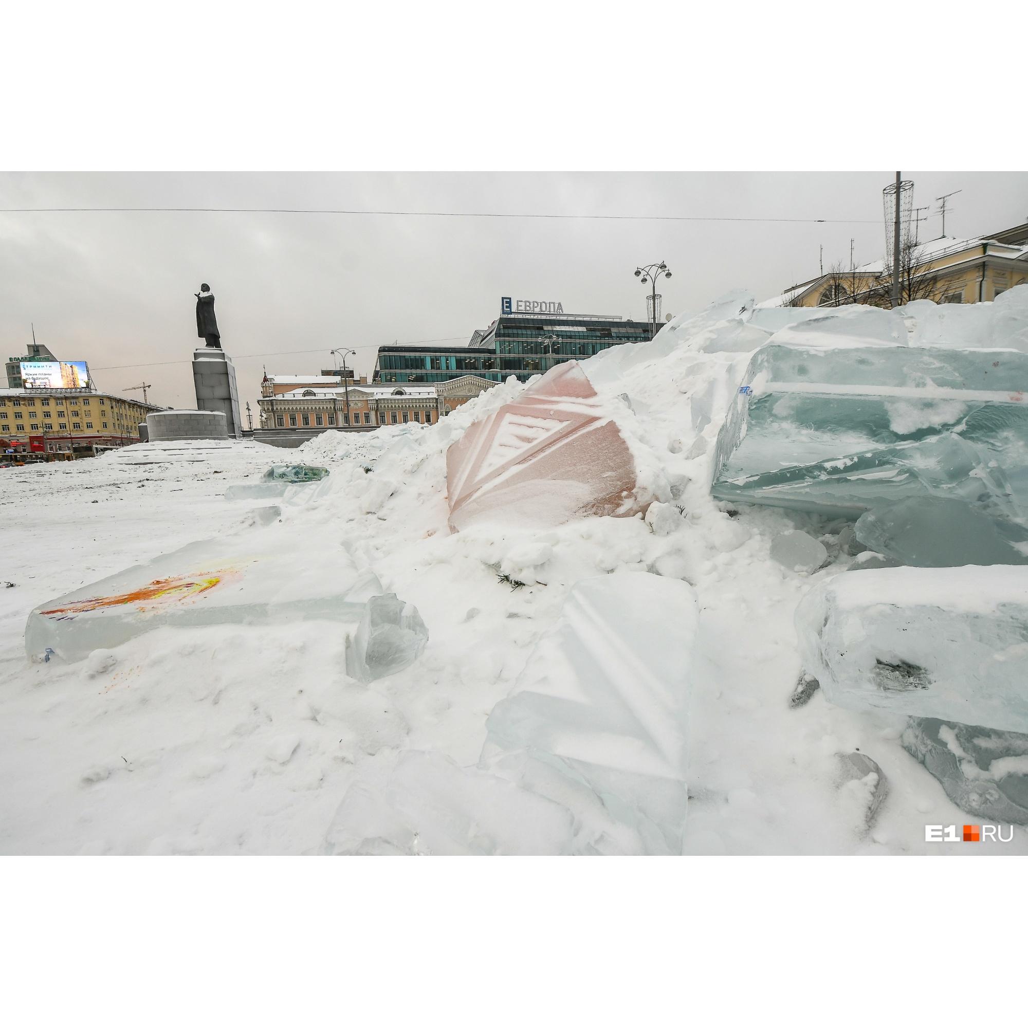 Лед от снежного городка