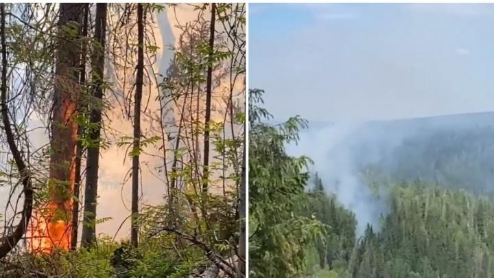 Пожар в популярном туристическом месте: горит лес в районе Усьвинских столбов