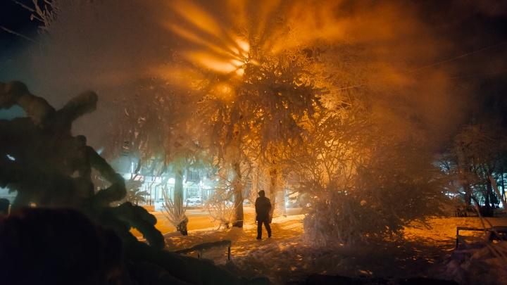Разноцветный холод: как выглядит Архангельск в аномальные морозы