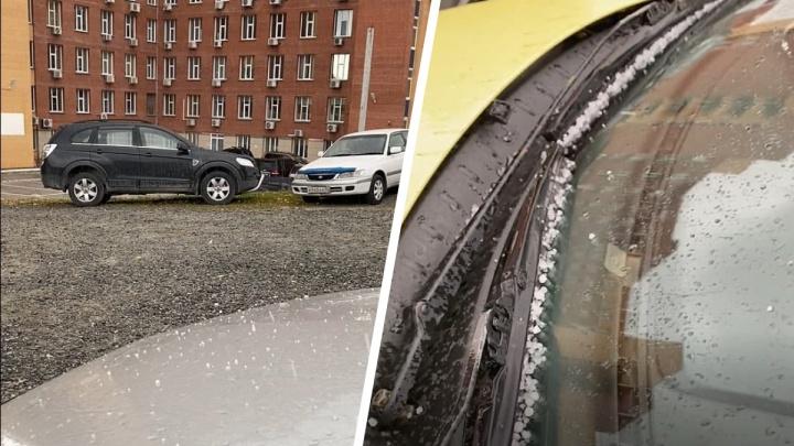 Холодный воздух принес в Новосибирск снежную крупу — видео из Академгородка