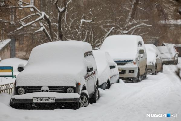 Зима плотно засела в Красноярске