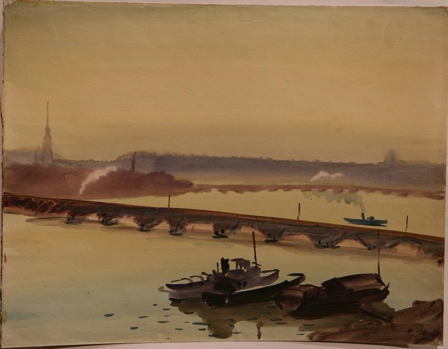 Александр Ведерников. Тучков мост. 1946. Бумага, акварель