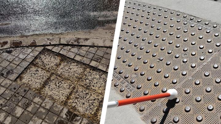 Укладывают до весны: красноярский активист показал разваливающуюся тактильную плитку