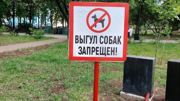 В сквере у Оперного театра поставили знаки о запрете на выгул собак. Что говорят мэрия и зоозащитники