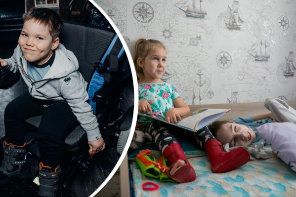 Слева — Добрыня Рукосуев, справа — Катя и Оскар Фукс, дети-смайлики из Красноярска