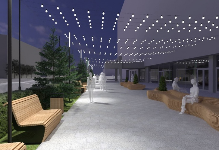 В пешеходной зоне появятся светящийся потолок из гирлянд, стильные параметрические скамейки и (в перспективе) арт-объекты