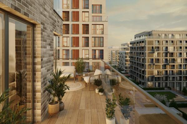 Квартиры с террасами, гардеробными и отдельным входом можно найти в обычном спальном районе города