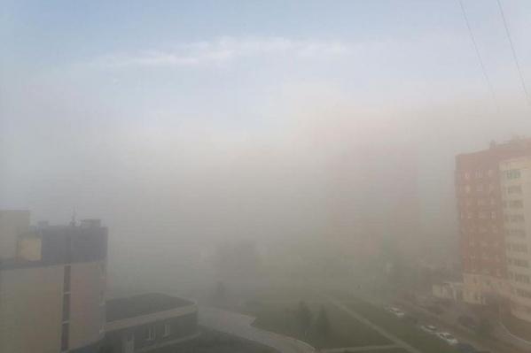 С утра в Новосибирске густой туман