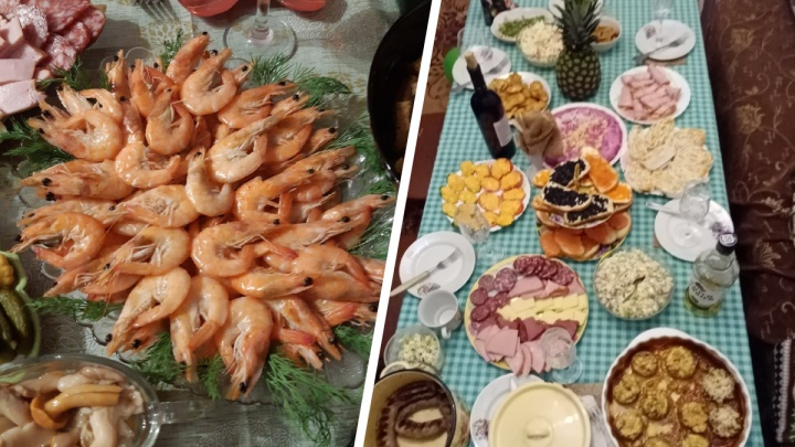 Шампанское, креветки, черная икра: ярославцы показали свои новогодние столы
