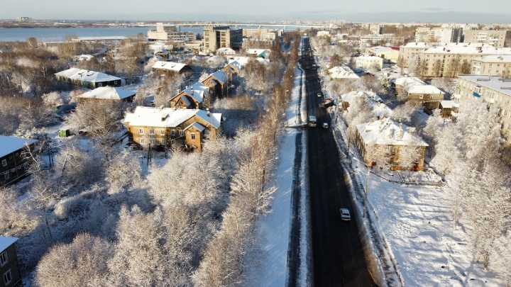 Смотрим на заснеженный Архангельск с высоты птичьего полета