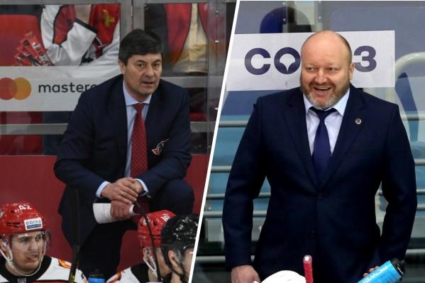 В сезоне 2018/19 Андрей Мартемьянов (слева) и Николай Заварухин (справа) работали вместе в «Автомобилисте», а теперь по очереди возглавляют «Сибирь»