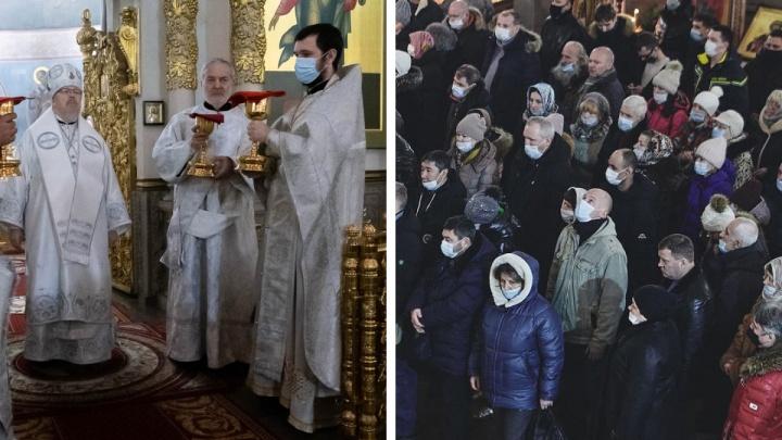 Первое «ковидное» Рождество в Красноярске — смотрим фоторепортаж из храма на Щорса