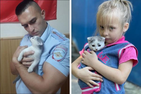 """Слева — участковый, нашедший кошечку. Справа — <nobr class=""""_"""">6-летняя</nobr> хозяйка, которая очень переживала"""