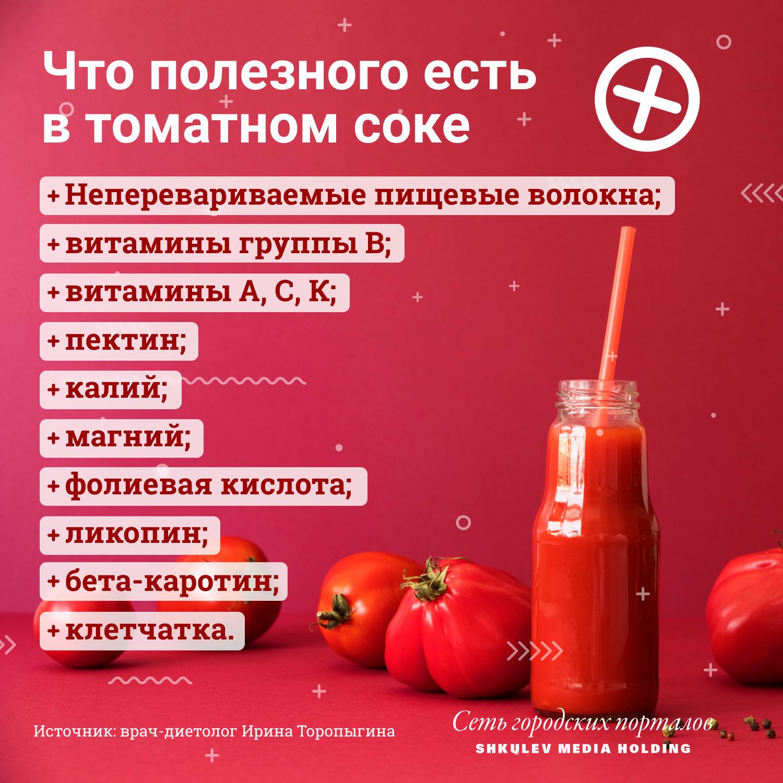Полезные вещества в томатном соке