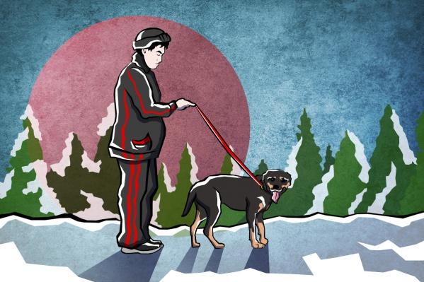 Мужчина с ротвейлером ведет себя агрессивно во время выгула своей собаки