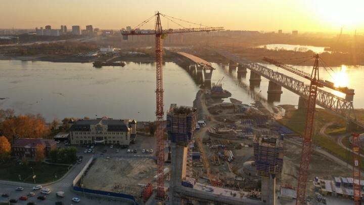 Как продвигается стройка платного моста через Обь? Смотрим фото