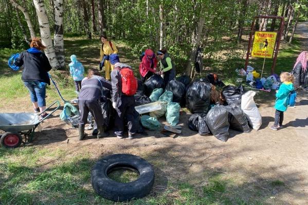 Всего участники акции собрали 27 мешков мусора