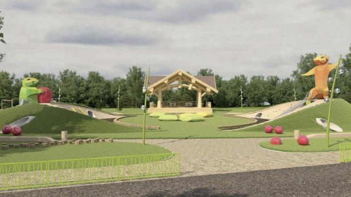 Огромную детскую площадку с фонтаном построят на острове Татышев за 100 миллионов рублей