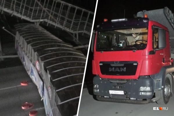 Водитель перевозил негабаритный груз и обрушил мост