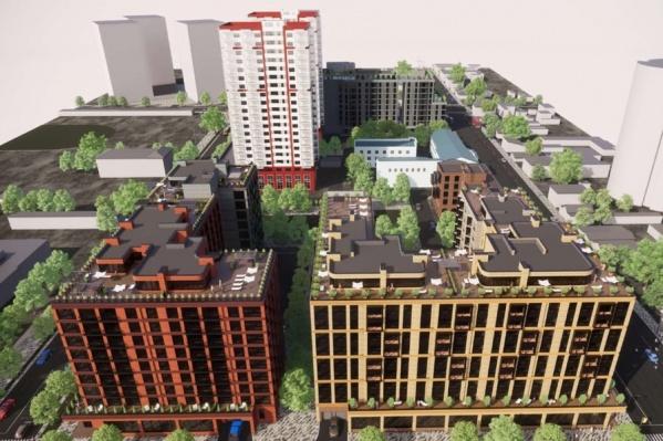 На территории квартала хотят возвести многоквартирные дома высотой 9 этажей и выше