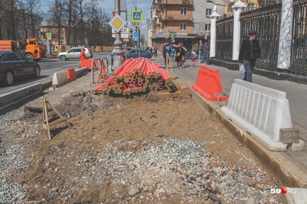 Пешеходную часть Комсомольского проспекта сейчас расширяют