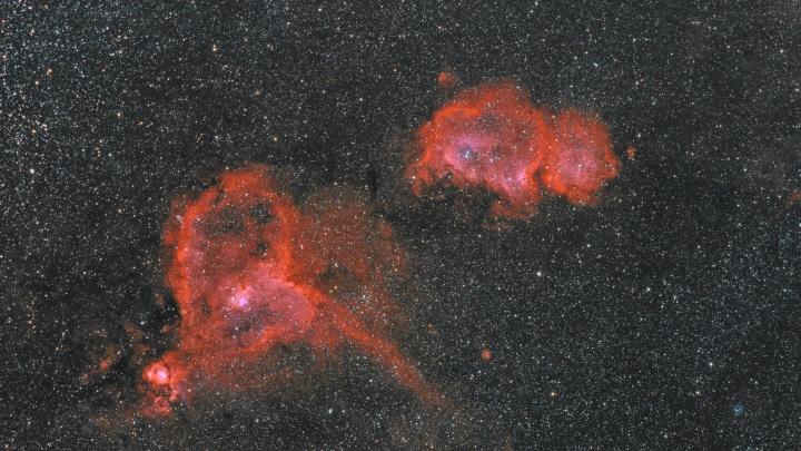 Новосибирский астрофотограф снял две далеких туманности — одна из них похожа на сердце