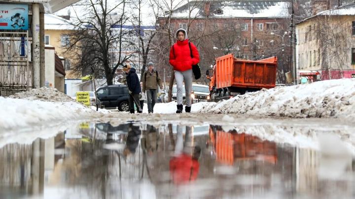 «Искусственно созданная грязь». Фоторепортаж о том, как Нижний Новгород переживает оттепель