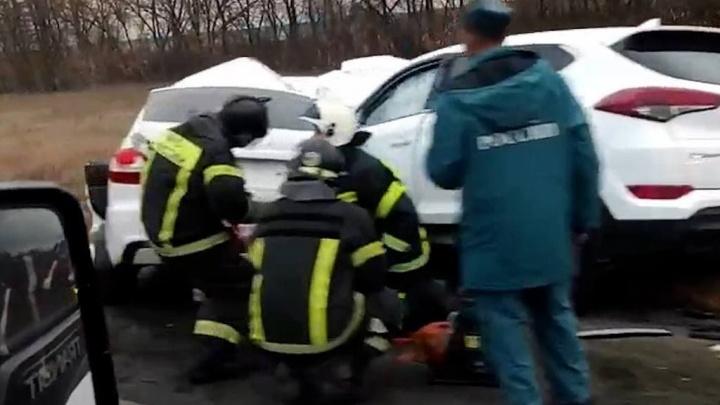 Под Челябинском водитель «Гранты» погиб после столкновения с Hyundai Tucson