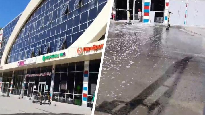 Из трубы торгового центра на Золотой Ниве бурным потоком полилась вода