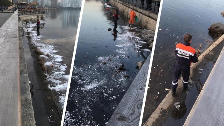 Напротив новой набережной в Енисее заметили следы нефтепродуктов